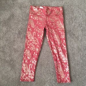 fabletics leggings, pink and gold size S